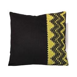 Coussin Graphique tissé noir et jaune fait main