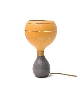 Lampe à poser en Calebasse Cuir et Bronze