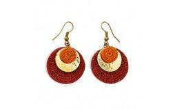 Boucles d'oreilles laiton et sisal orange rouge