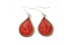 Boucles d'oreilles en fil de coton rouge