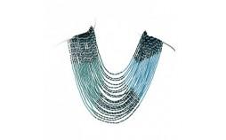 Collier plastron en perles turquoise bleu