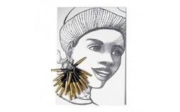 Boucles d'oreilles papier recycle noir or