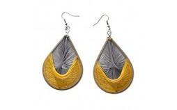 Boucles d'oreilles femme fil de coton doré gris