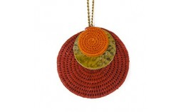 collier pendentif en sisal rouge