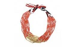 collier femme en papier rouge