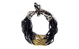 Collier perles de papier doré noir