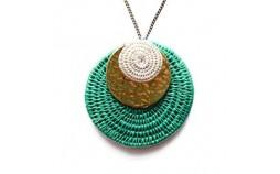 collier pendentif en sisal vert