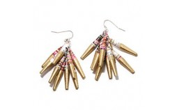 Boucles d'oreilles papier recycle multicolore