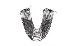 plastron en Perles Noir et Blanc
