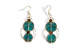 Boucles D'Oreilles en Nacre Cercles Turquoise