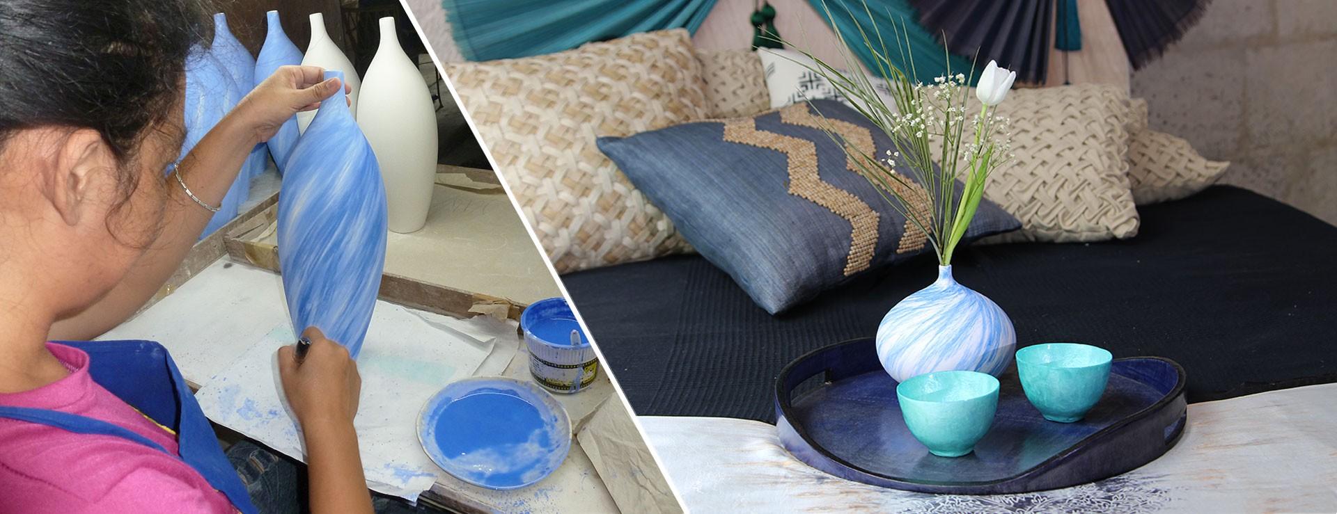 Vase en porcelaine fine design Ithemba fait à la main aux Philippines